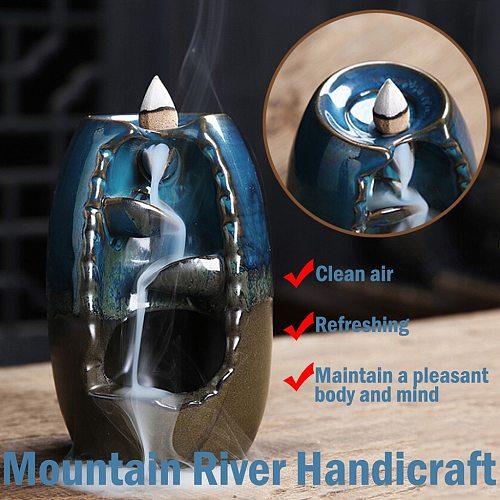 River Mountain Handicraft Incense Holder Ceramic Backflow Waterfall Smoke Incense Burner Censer Holder Gift Home Decor#T1G