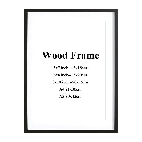 Wooden Frame Sample Black White Pink Red Coffee More Color Picture Photo Frame With Mats For Wall Mounting