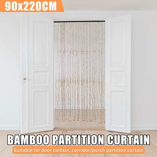90x220cm Wooden Beads Curtain Handmade Wooden Blinds Fly Screen String Curtains Valance Divider For Porch Room Window