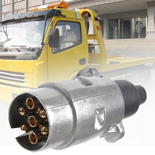 12V 7 Pin Round Caravan Trailer Truck Aluminum Alloy Plug Adapter Connector