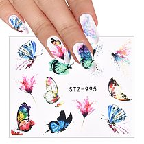 3D Blue Valentine's Day Nail Decoration Watercolor Butterflies Sliders Nail Art Water Transfer Decal Sticker Tattoo Manicure