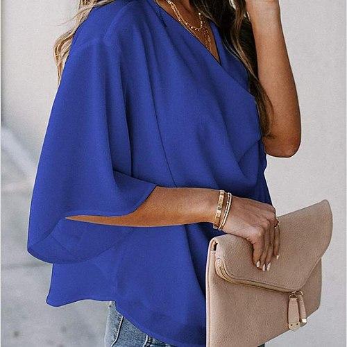 Chiffon Blouses & Shirts Women Solid Color Cotton Lrregular Led Short Sleeve Fashion Street Wear Style Regular Tops For Female