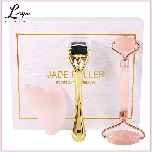 Rose Quartz Roller Facial Massager 100% Natural Stone Jade Roller Micro-needle Roller Jade Spatula Set Facial Skin Care Tool