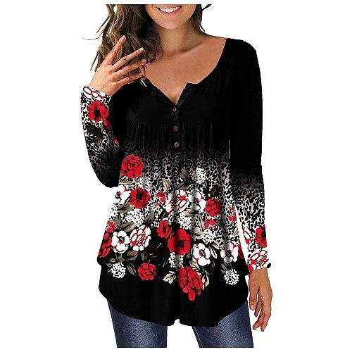 Undefined Womens Fashion Round Neck Printed Buttons Long Sleeve Asymmetric Hem Top Женские Свитера Tops Women 2021 Summer
