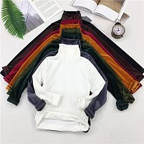New Spring Women Turtleneck T Shirt Tees Warm Thick Velvet T-Shirts Female Bottoming Long Sleeve Shirt Tops