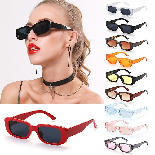 Retro Women Sunglasses Small Rectangle Frame Sun Glasses UV400 Protection Eyewear Summer Travel Beach Trendy Eyeglasses