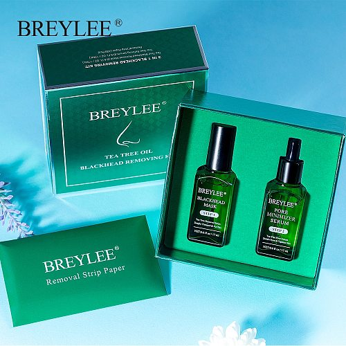 BREYLEE Blackhead Remover Black Mask Skin Care Anti Acne Treatment Peel Off Facial Mask Pore Refining Serum Shrinks Pore Kit