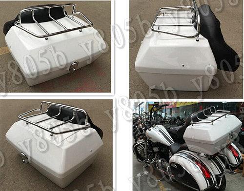 White Tail Box Luggage With Top Rack Backrest For Suzuki Boulevard C50 Volusia 800 C90 M109R C109 Marauder 800 M50 Intruder LC