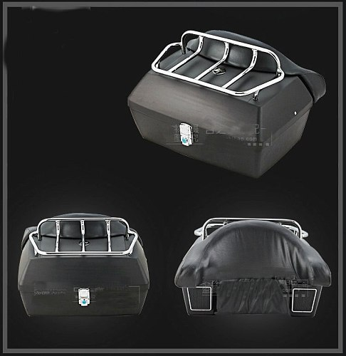 Matte black Trunk Tail Box Luggage With Top Rack Backrest For Honda Rebel CMX 250 CA125 250 450 Gold Wing  GL1500 GL1800 SHADOW