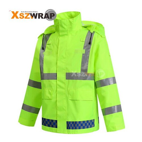 High Visibility Reflective Outdoor Cycling Road Traffic Police Facilities Warning Security Waterproof Raincoat Safety Coat