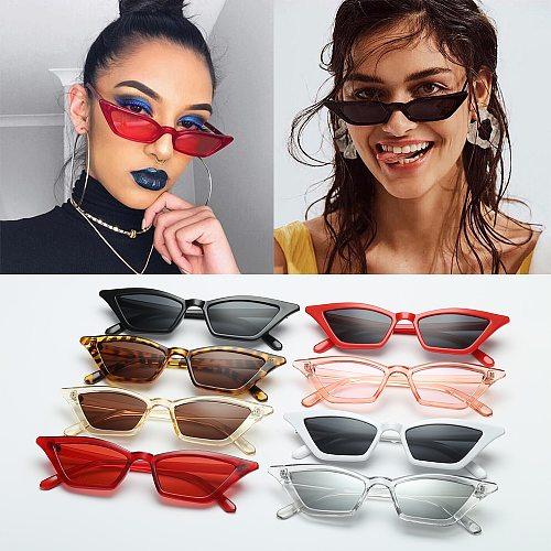 UV400 Sun Shades Women Vintage Cat Eye Sunglasses Fashion Small Frame Glasses Street Eyewear Luxury Trending Sunglasses
