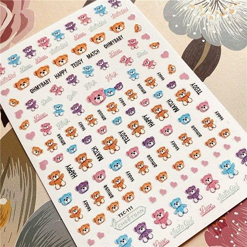 TSC-111-112-113 Bear teddy 3D Back glue Nail decal Nail sticker Nail decoration Nail art Nail tool Nail ornament