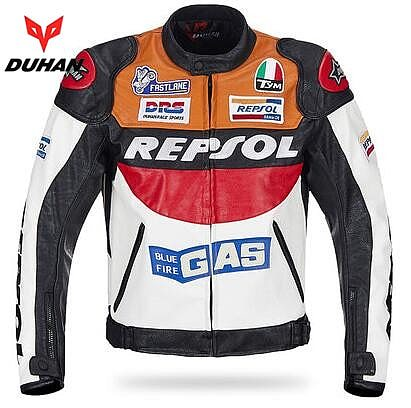 DUHAN Moto GP Motorcycle REPSOL Racing Leather Jacket VS02 Orange Blue M L XL XXL 3XL Good Pu Leahter Made High Quality Top Serv