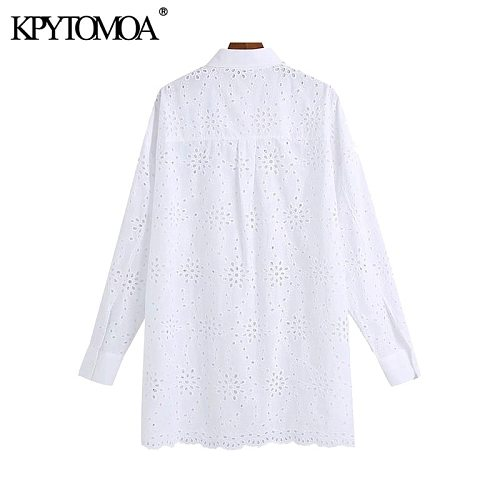 KPYTOMOA Women 2021 Fashion Hollow Out Embroidery Oversized White Blouses Vintage Long Sleeve Button-up Female Shirts Chic Tops