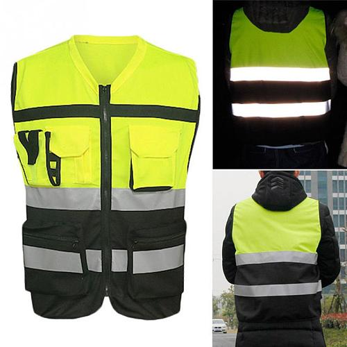 1Pc Security Visibility Reflective Vest Warp Knitting Cloth Unisex Construction Traffic Cycling Wear Reflective Protect Clothing