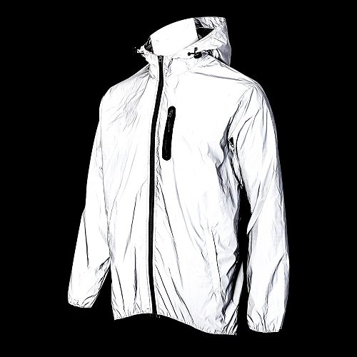 WOSAWE Full Reflective Jacket with Hoodie Waterproof Wind Breaker Men Women Hiking Cycling Running Safety Jacket High Visibility