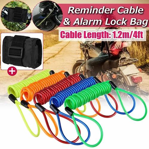 120cm 4ft Reminder Cable + Alarm Lock Bag For Motorcycle Motorbike 5 Color Anti Thief Motorbike Wheel Alarm Disc Lock