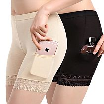 New Summer Women Soft Cotton Lace Seamless Safety Short Pants Summer Under Skirt Shorts Modal Ice Silk With Pockets Short Tights