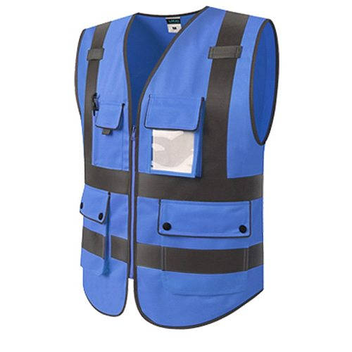 High Visibility Security Reflective Vest Pockets Design Reflective Vest Outdoor Traffic Safety Cycling Wear Motorcycle Vest