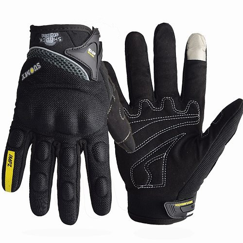 SUOMY Breathable Full Finger Racing Motorcycle Gloves Quality Stylishly Decorated Antiskid Wearable Gloves Large Size XXL Black