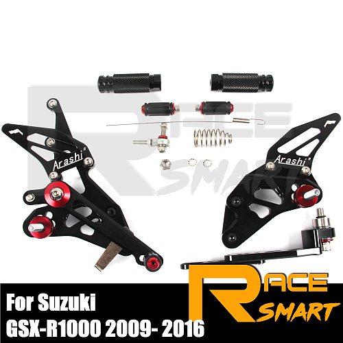 2009-2016 GSX-R1000 Motorcycl CNC Adjustable Rearset Footrests Footpegs For SUZUKI 2010 2011 2012 2013 2014 2015 GSXR 1000 GSX-R