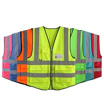 Safety Vest With Pockets And Zipper Front High Visibility Reflective Jacket For Night Riding Working Clothes Man Workwear Men