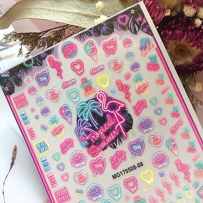 2020 New DIY Japanese Style Flamingo Teddy Bear Nail Sticker Super Thin Light Traceless Nail Stickers Nail Art Women Girl Gifts