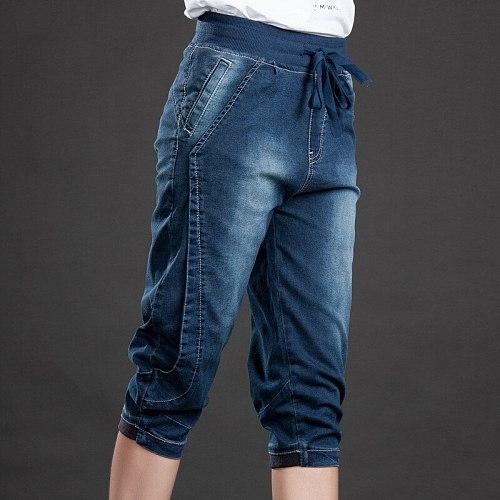 High Waist Jeans Woman Stretch Summer Denim Pants Trousers Plus Size 5XL Capri Jeans For Women Short Harem Pants Female C4553