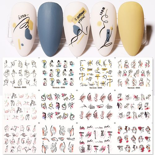 12Designs Female Face Image Nail Water Transfer Decals Stickers Black White Flower Patterns Love Letter Designs Decoration