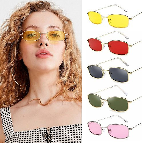 Candy Colors Metal Frame Rectangle Sunglasses Small Retro Shades UV400 Sun Glasses for Men Women Driving Eyewear Summer Goggles