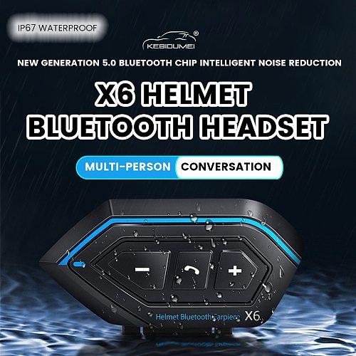 The latest X6 helmet headset Motorbike BT Interphone Motorcycle Bluetooth Helmet headphone Stereo Headset for Cell Phone 2 rider