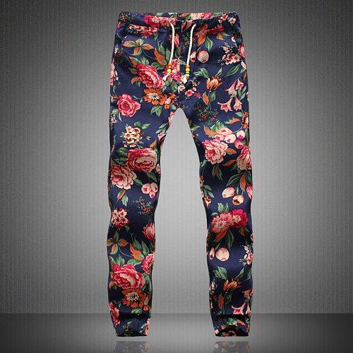 2021 New Fashion Summer Spring Autumn Men Floral Print Joggers Male Casual Summer Pants Mens Sweatpants Linen Pants Men Trouser