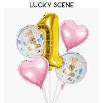 Boys and Girls Happy Birthday Balloon Set Aluminium Foil Combination One Year Old Decoration S00463
