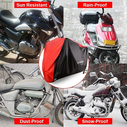 190T Motorcycle Waterproof Cover Outdoor UV Sun Protector Scooter All Season Bike Rain Dust Proof covers Red M L XL XXL XXXL