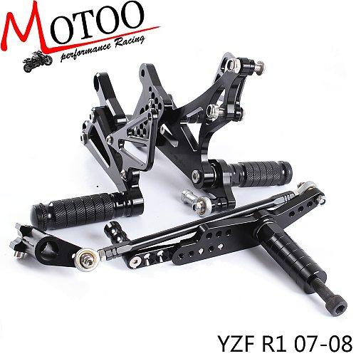 Full CNC aluminum Motorcycle footrest footpeg pedal foot peg Rearset Rear Set For YAMAHA YZF-R1 2007-2008