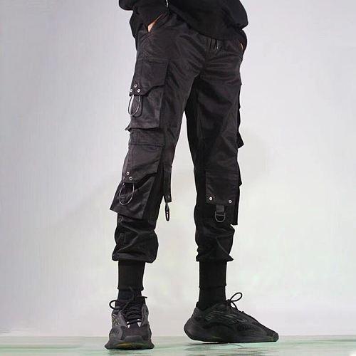 Cargo Pants Men Harem Joggers Pants Men Harajuku Hip Hop Streetwear Black Sweatpants Joggers Male Trousers Oversize