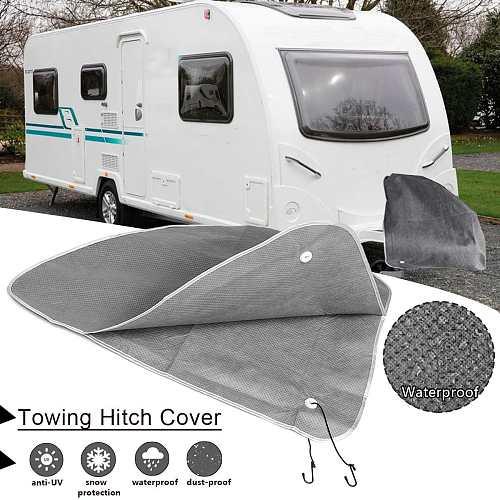 83X63cm Towing Hitch Coupling Lock Cover Waterproof Protector Grey for Caravan Trailer Car