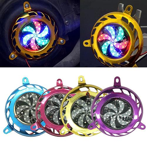 Motorcycle Motorbike Scooter Engine Cooling Fan Cover with Colorful Strobe Light