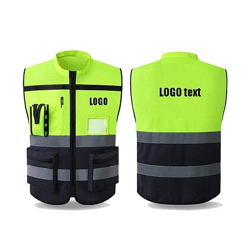 High Visibility Reflective Vest Sleeveless Jacket Men Hi Vis Workwear Uniform Safety Protective Gear Fluorescent Yellow Tank Top