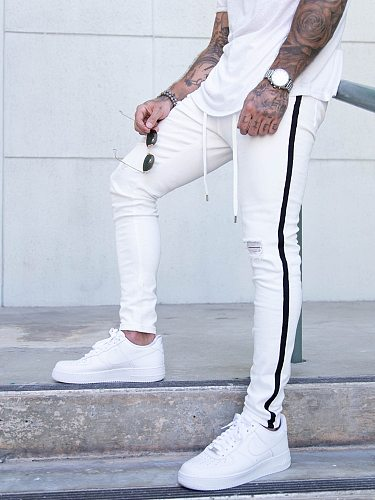 Men's Side Stripe Embroidered jeans Skinny Jeans Ripped Grid Stretch Denim Pants MAN Elastic Waist Jogging Denim Trousers