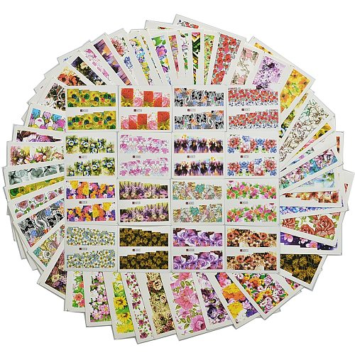 48pcs Mix Colorful Full Nail Flower Nail Art Water Transfer Sticker Nail Sticker Sets for Gel Polish Manicure Decals TR#A049-096