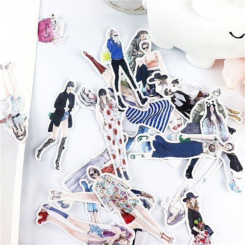 23pcs cute popular fashionable Street girls stickers decor wall notebook luggage laptop bicycle scrapbooking album decal sticker
