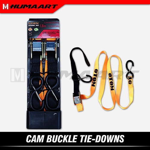 HUMAART Cam Buckle Tie Down Strap Pull Belt for Motorcycle Bicycle ATV Quad Cargo Transport Lifting Ramp Towing Move Drag, 1.8m