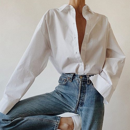 2021 Women Summer White Blouses Long Sleeve Casual Ladies Tops And Blouses Women  Office Style Shirt Blusas Roupa Feminina