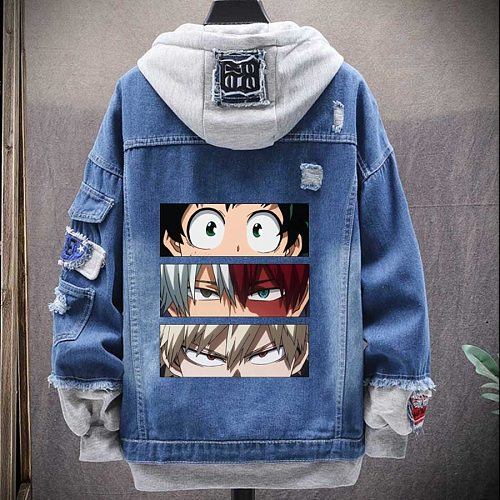 My Hero Academia Characters Hoodie Man New Spring Autumn Denim Jacket Street Fake Two Clothing Femme Casual Jacket For Men Style