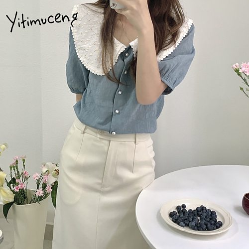 Yitimuceng Casual Blouse Women Oversize Button Up Office Lady Shirts Korean Fashion Short Sleeve White Blue Tops 2021 Summer New