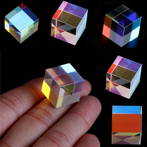 Stained Glass Six-Sided Prism Bright Light Combine Cube Prism Beam Splitting Prism Optical Experiment Instrument
