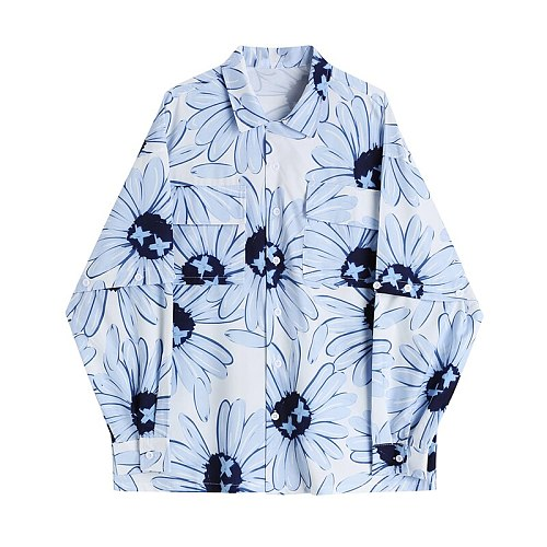 blue floral shirts women contrast printing lovers long sleeve shirt loose top shows slim summer