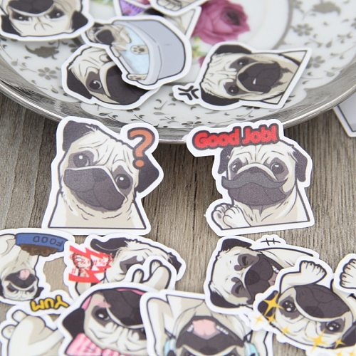 40 Pcs/lot Pug expression paper Sticker Decal For Phone Car Case Waterproof  Laptop Bicycle Notebook Backpack Kids Toy Stickers