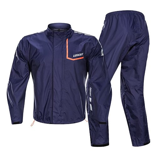 LYSCHY Fashion Anti-rainstorm Motorcycle Rider Raincoat Large size Wear-resistant Reflective Waterproof Jacket + Pants Suit